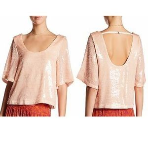 Free People Peach Pearl Sparkle Sequin Top